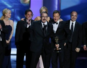 """Executive producer Vince Gilligan accepts the award for Outstanding Drama Series for """"Breaking Bad"""" at the 65th Primetime Emmy Awards in Los Angeles"""