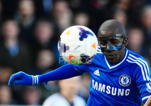 Ramires of Chelsea plays with a personalised protective mask
